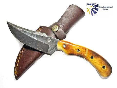 Damascus Knife Burnt Bone Handle TD-173