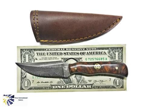 Damascus Steel Skinner Knife, Mini Old Timer (Mini Sharp Finger ) /Rosewood Grip BY TITAN TD-178