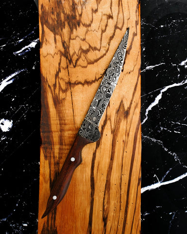 "Damascus Knife, Handmade knife, Custom Damascus Steel Knife,Hunting Forged Damascus Steel Fixed Blade 12"" Full Tang Rosewood Handle TD-220"