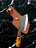 Damascus Kitchen Knife Set, Cheff Knife, Pairing Knife, Hand-forged Carbon Steel Ulu Knife and Cleaver
