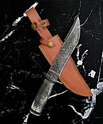 Titan Bowie Style Damascus Steel- Hunting, Camping, Survival, Handmade Knife - TK Bowie