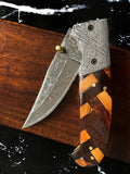 Custom Checkered Titan classico - Raindrop Damascus folding blade/ EDC/ Checkered (Walnut & Olive)