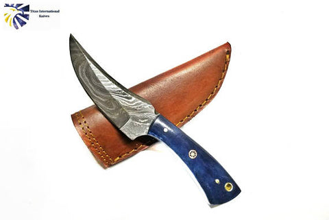 Damascus Steel Skinner Knife, Dyed Bone Grip by Titan TD-225
