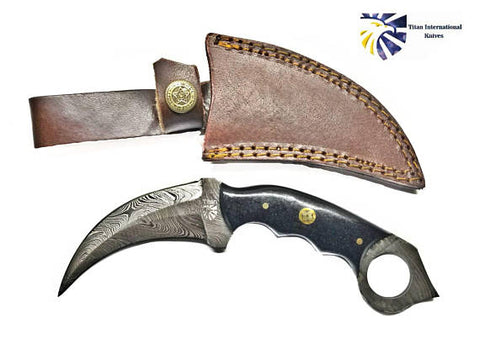 Damascus Karambit with Black Canvas Micarta Scales / Double Edge Karambit by Titan TD-197