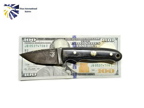 Damascus Steel Drop point Knife, Mini Everyday Carry / Micarta grip by Titan TD-202