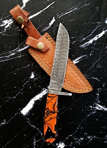Custom Titan Blaze - Damascus steel/ Hand Forged/ Full Tang/ Bowie Style