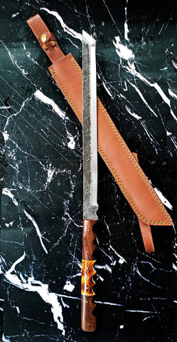 A High Carbon Steel sword/ Katana style / Hand forged/ Full tang with genuine leather sheath TC-39