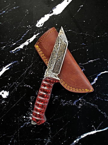 2. Titan Diver - Damascus steel/ Tanto point/ EDC / Tactical blade/ cherry wood