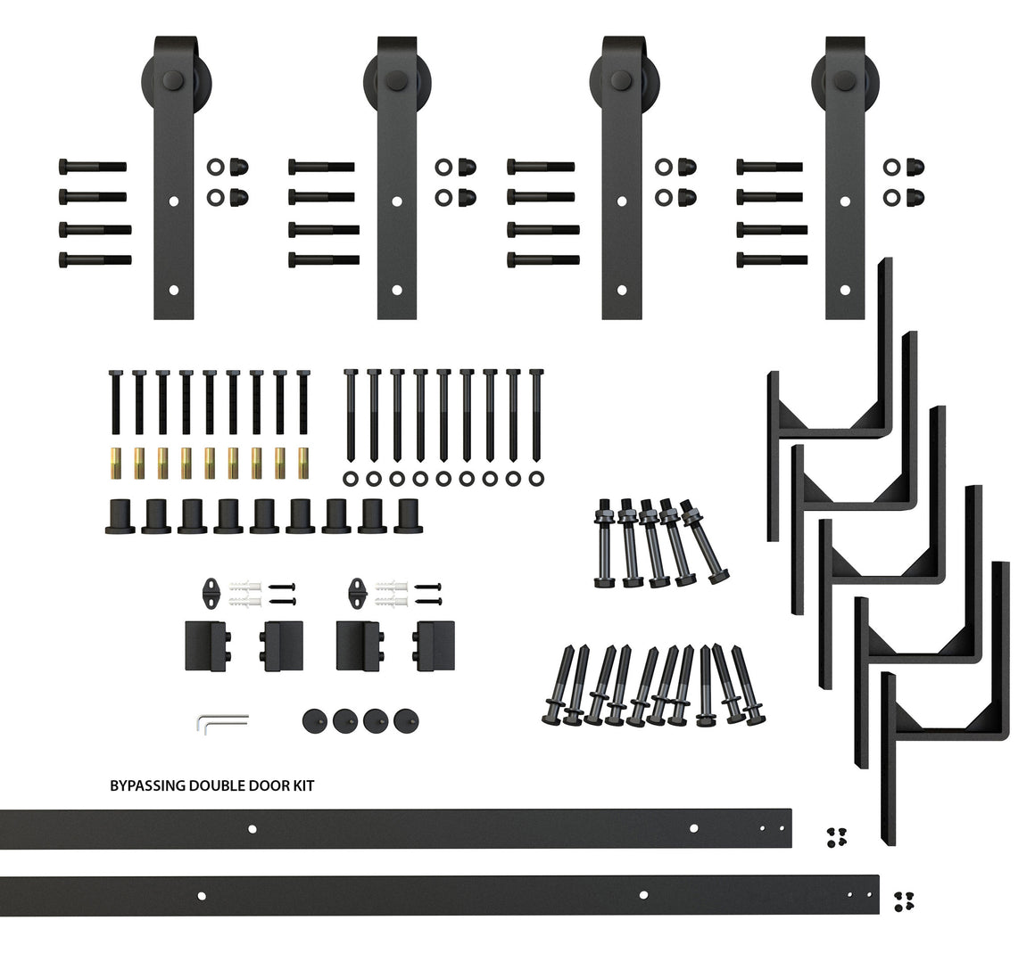 By Passing Classic Strap Barndoor hardware kit components