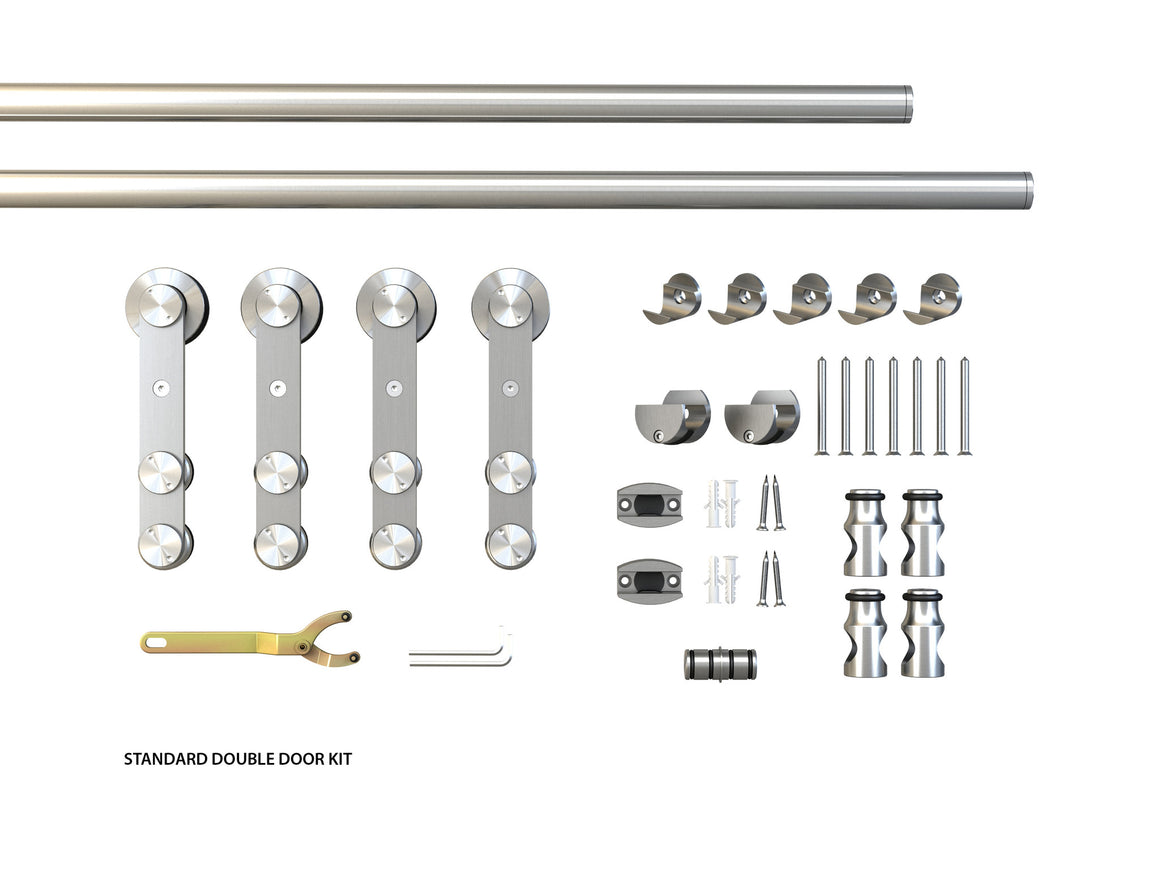 The Skyline II Double Glass Barndoor kit components