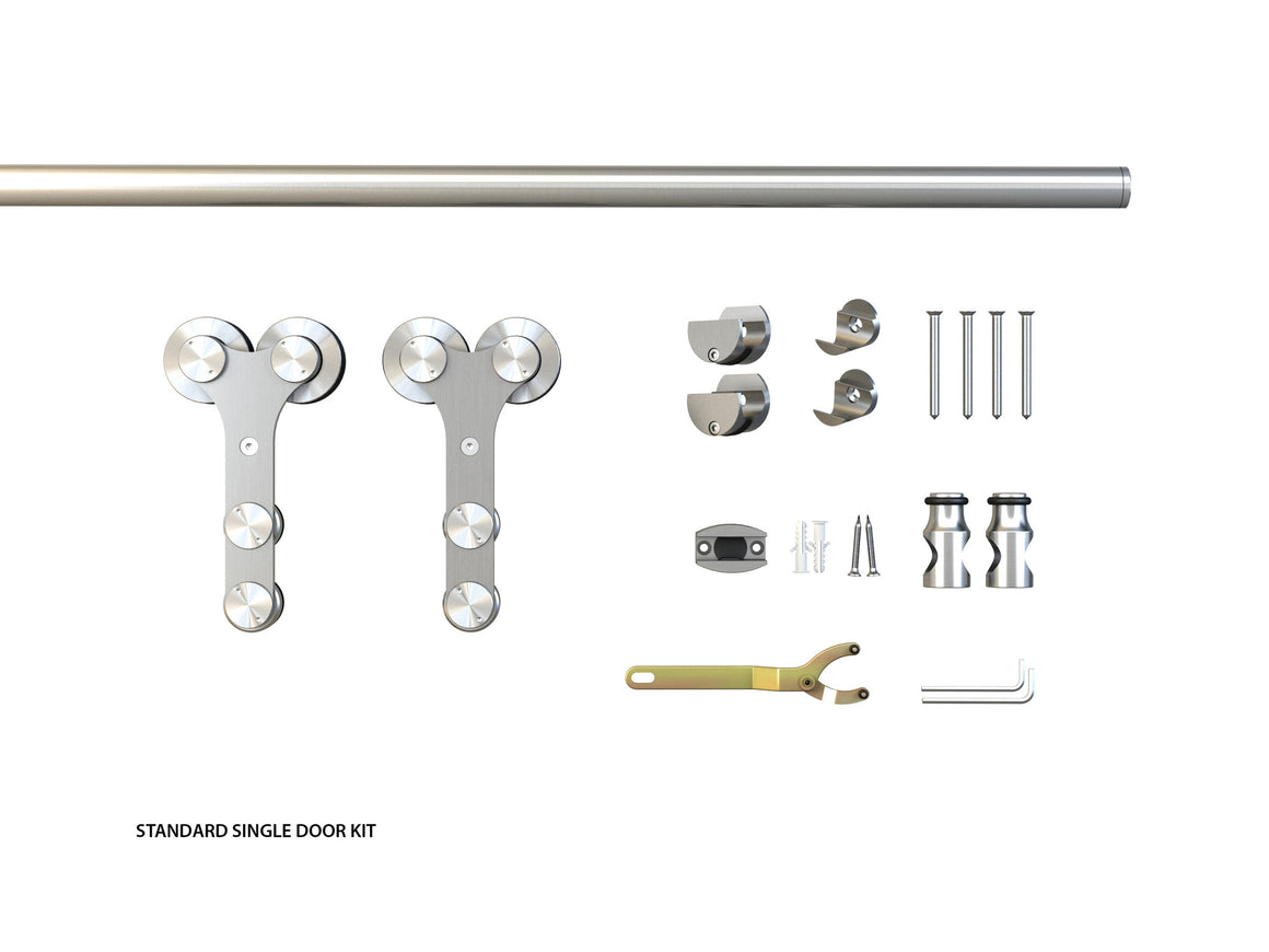 The Manhattan single glass door barndoor standard kit components