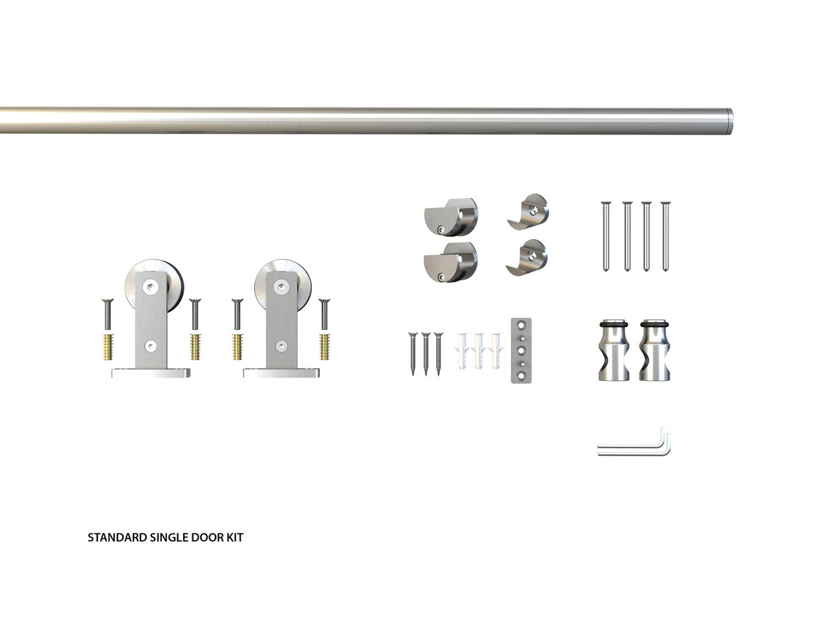The Townhouse Single Wood Barndoor standard kit components