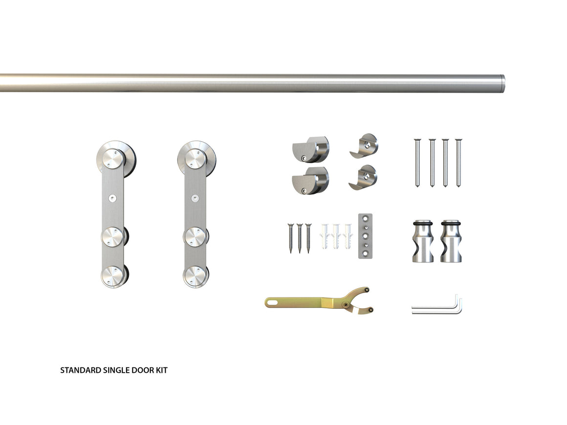 The Loft standard barndoor kit components