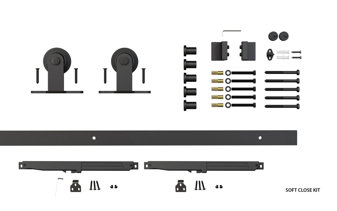 Classic Top Mount barndoor soft close kit components