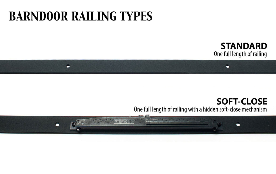 detailed comparison of barndoor railing types in standard, knock down, and soft close