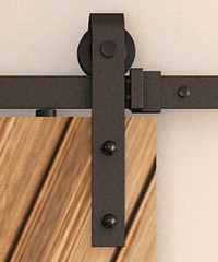 Detailed view of Classic Strap Hardware for single wood barndoor