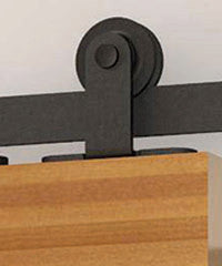 detailed view of black classic top mount for single barndoors