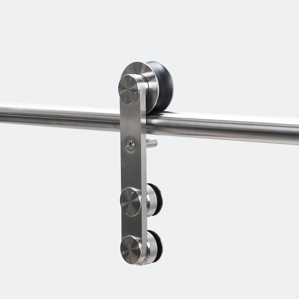 detailed view of the loft barndoor hardware in stainless steel
