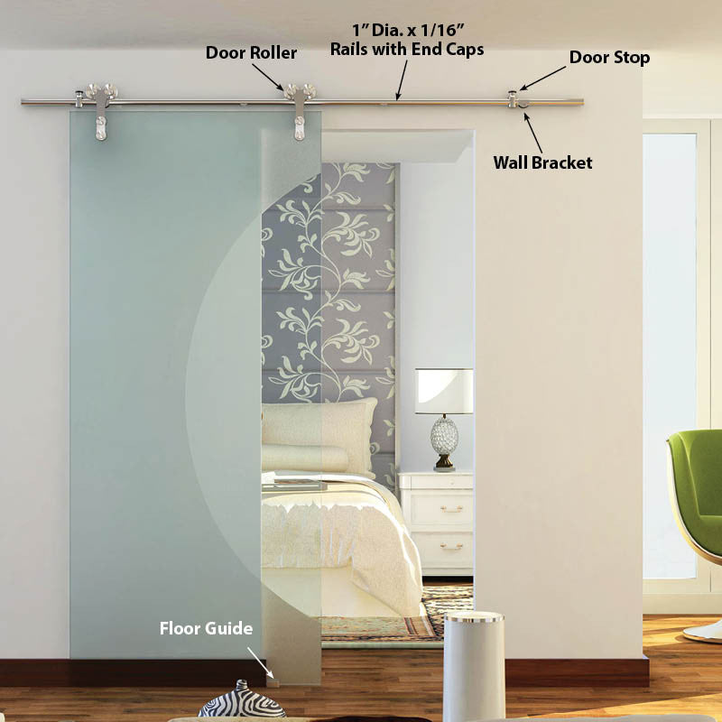 The Manhattan barndoor hardware kit in stainless steel for single glass doors