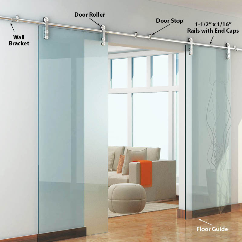 The skyline two double glass barndoor hardware kit