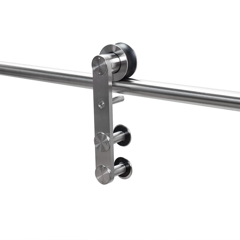 detailed view of the skyline two glass barndoor hardware