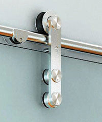 detailed application of the skyline two double glass barndoor hardware
