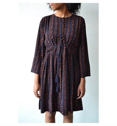 Apiece Apart Navy Hatch Print Upaya Dress - Myth & Symbol