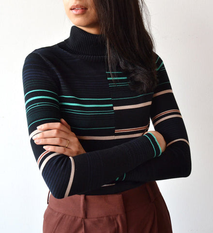 Apiece Apart Rancho Stripe Piedras Turtleneck Top - Myth & Symbol