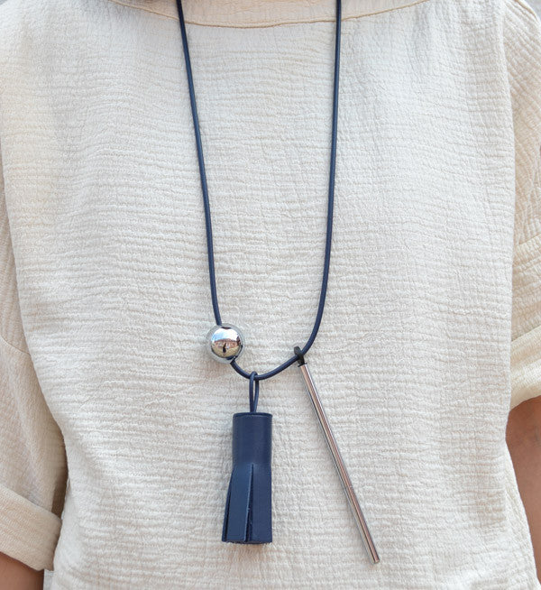 Building Block Navy Tassel & Pen Necklace - Myth & Symbol - 2