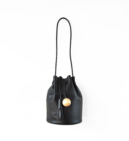 Building Block Pebbled Black Bucket Bag - Myth & Symbol - 1