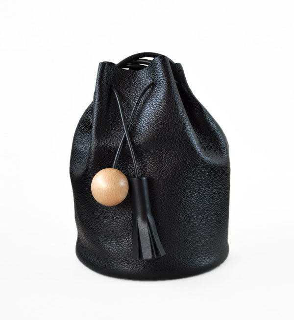 Building Block Pebbled Black Bucket Bag - Myth & Symbol - 2
