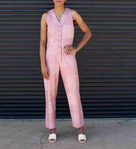 Dusen Dusen Rose Tile V Jumpsuit