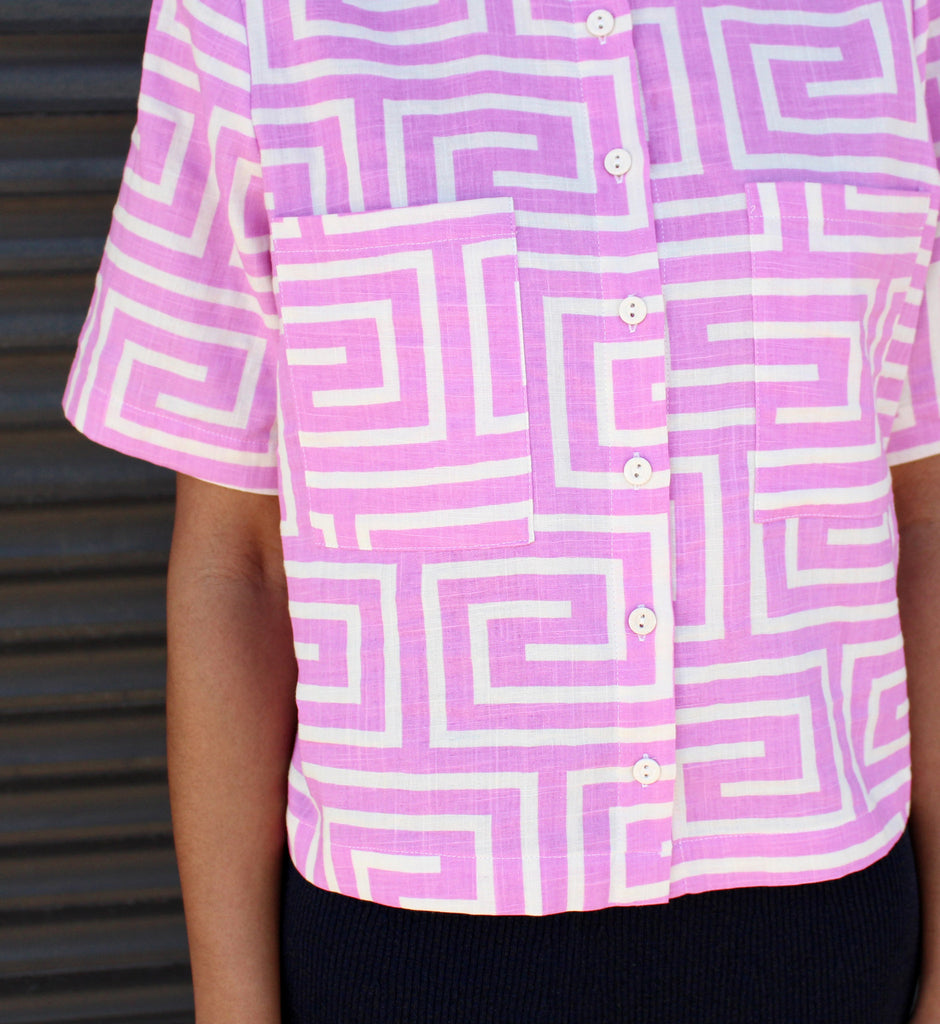 Dusen Dusen Lilac Key Collared Top