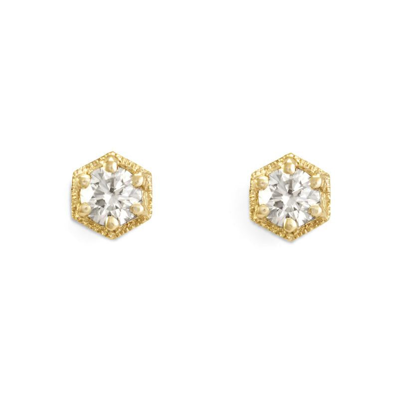 Satomi Kawakita White Diamond Hexagon Earrings - Preorder