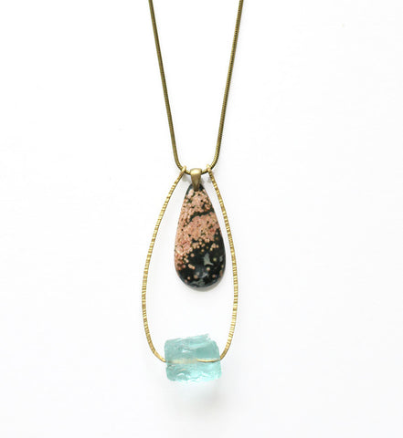 Earth Reverie Aquamarine Stone Necklace