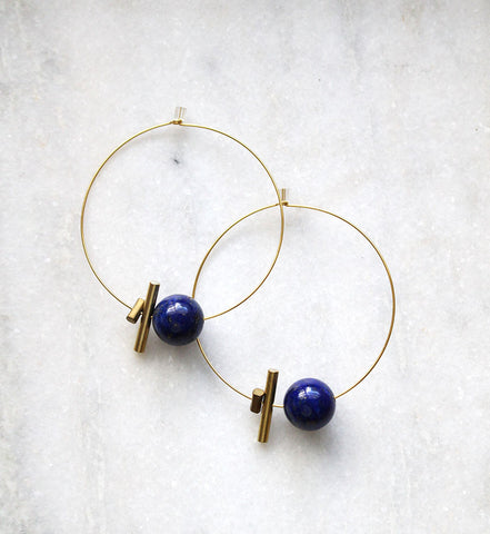 Earth Reverie Large Hoop & Large Stone Earrings