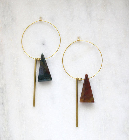 Earth Reverie Triangle & Long Bar Hoop Earrings