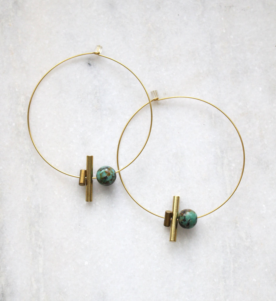 Earth Reverie Large Hoop & Small Stone Earrings