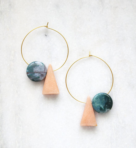 Earth Reverie Triangle & Coin Agate Hoop Earrings