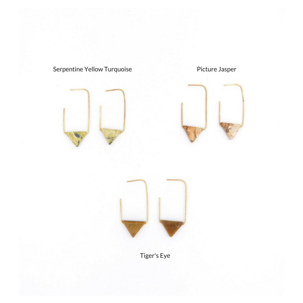 Earth Reverie Yellow Turquoise Triangle Earrings