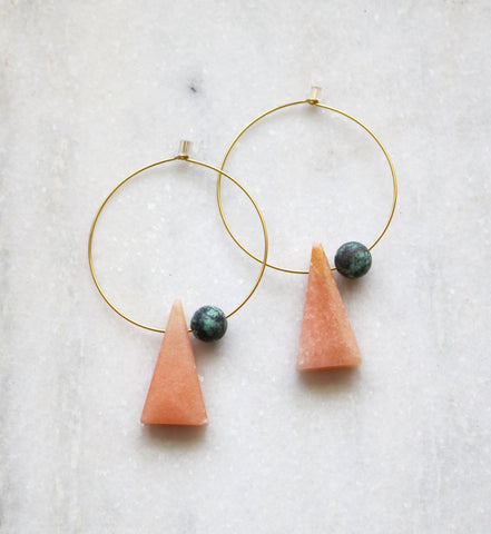 Earth Reverie Triangle & Stone Hoop Earrings