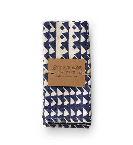 Jenny Pennywood Indigo Triangles Everyday Napkins Set - Myth & Symbol - 1