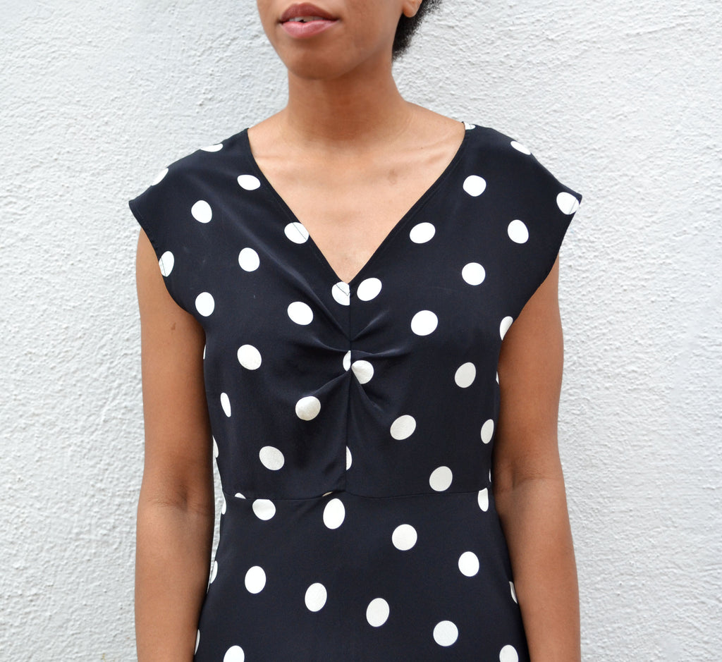 No.6 Black Large Dot Teddi Ruched Dress