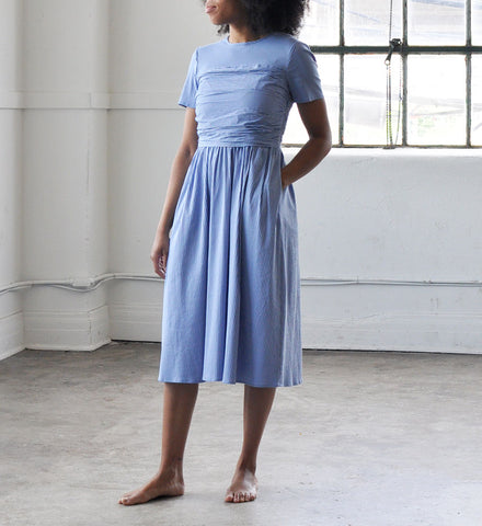 No.6 China Blue Annabel Ruched Dress
