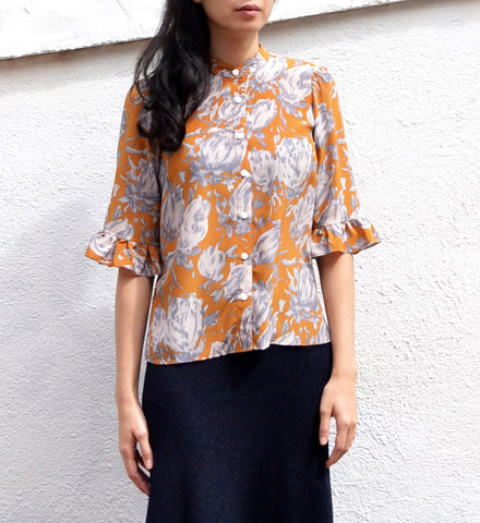 No.6 Gold Watercolor Floral Zoey Blouse