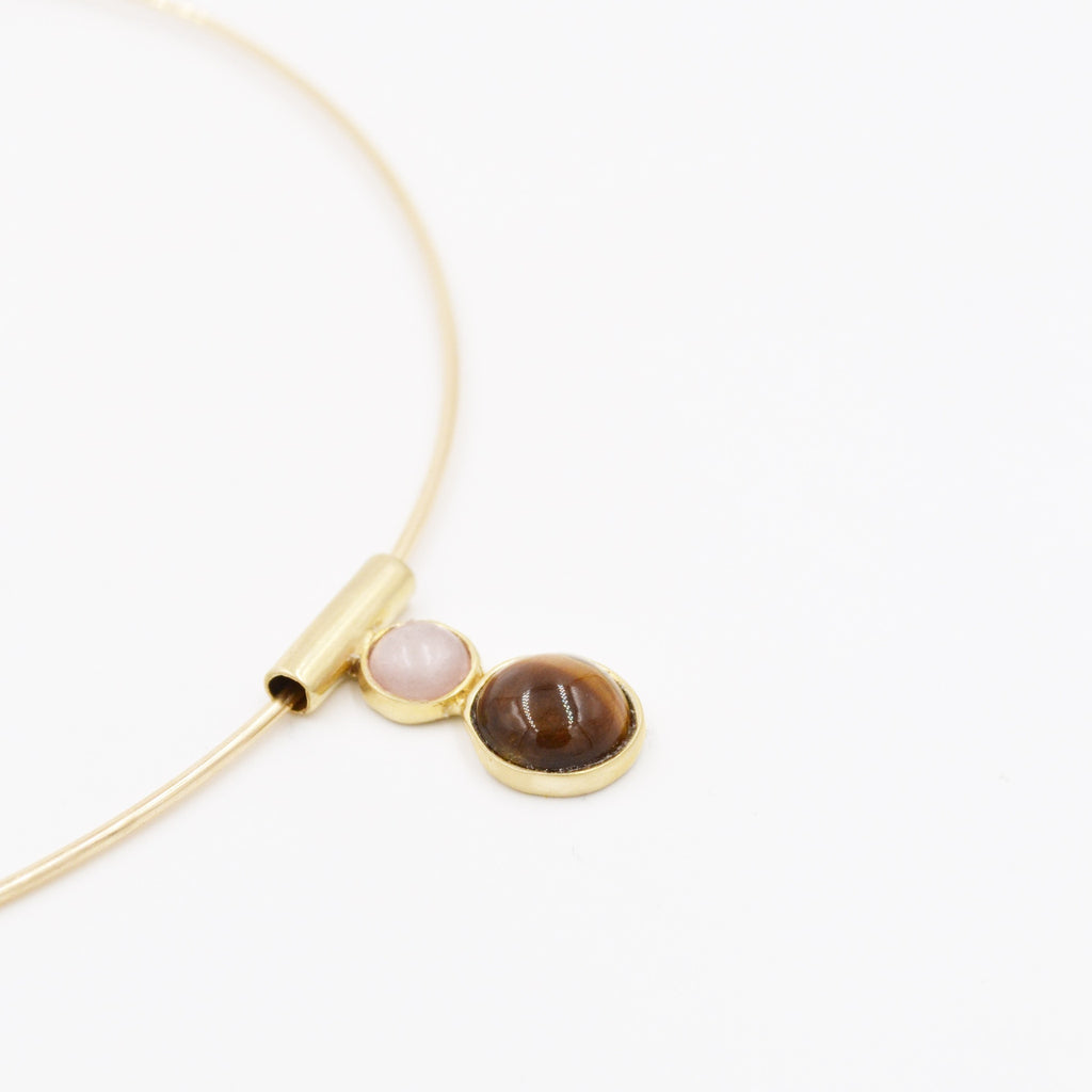 Odette Tiger's Eye & Rose Quartz Arne Collar - Myth & Symbol - 2
