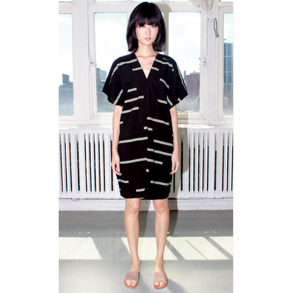 Uzi Black Broken Stripes V-Dress
