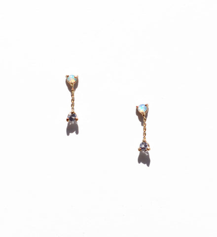 WWAKE Opal & Tanzanite Small Two Step Chain Earrings - Myth & Symbol - 1