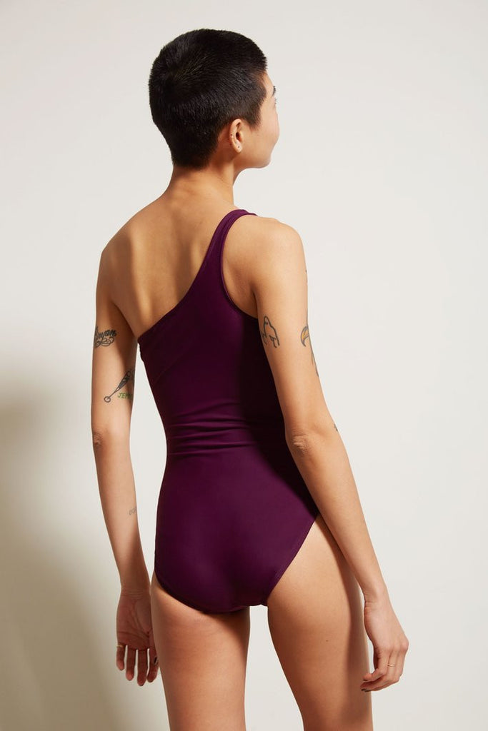 No.6 Wine Claudia One Shoulder Swimsuit