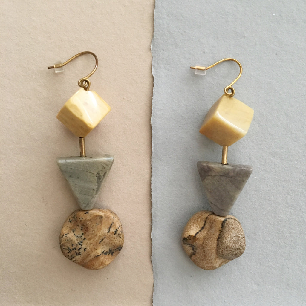 Earth Reverie Picture Jasper Trio Earrings - Myth & Symbol